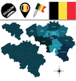 Belgium map with named divisions vector image