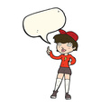 cartoon skater girl giving thumbs up symbol with vector image