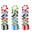 Gambling casino chips falling to stacks vector image