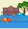 Flood realistic natural disaster vector image