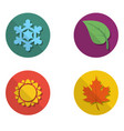 four colored icons with seasons vector image
