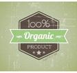Quality retro label green organic vector image
