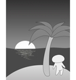 Tropical sea island with girl palm trees and sun vector image