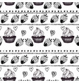 cakes and strawberry engraving seamless pattern vector image