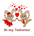 A couple of funny cartoon rabbits with hearts vector image