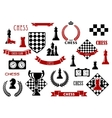 Chess game and heraldic design elements vector image