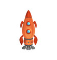 cartoon space ship launch with porthole windows vector image
