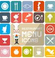 Restaurant Menu Colorful Flat Design Icons vector image