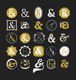 stylized white and golden ampersand sign and vector image