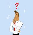 thinking cartoon businessman vector image