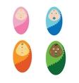 newborn children of different vector image