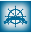 Ship Wheel With Banner Nautical Emblem vector image vector image
