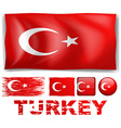 Turkey flag in different designs vector image vector image