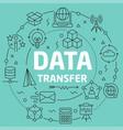 green line flat circle data transfer vector image