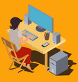 woman working on computer at desk isometric vector image