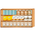 Shelves full of different kinds of food vector image