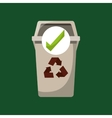 recycled trash can ok icon vector image