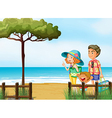 A family at the beach vector image vector image