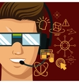 character man vr reality glasses gadgte fiction vector image