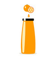 bottle of orange juice and orange on white vector image