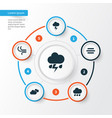 climate icons set collection of haze rainy vector image