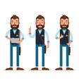 man stands with tablet shows okay characters vector image