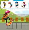Kids playing skateboards in park vector image vector image