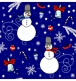 Winter seamless background with snowmen vector image vector image