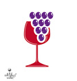 Winery award theme Stylized half full glass vector image