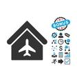 Aircraft Hangar Flat Icon with Bonus vector image
