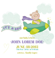 Baby Bear on a Plane - Baby Shower or Arrival Card vector image