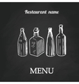 Chalk menu spoon fork and knife on abstract vector image