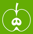 half apple icon green vector image