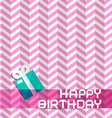 Happy Birthday Retro Pink Background with Gift Box vector image