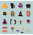 Happy halloween sticker set in flat design style vector image