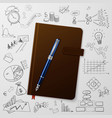 Notebook with doodles line drawing success vector image
