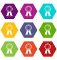 rosette icon set color hexahedron vector image