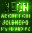 set of realistic neon letters of the english vector image