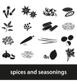 spices and seasonings black icons set eps10 vector image