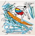 Surfing sketch vector image