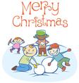kids making a snow man on Xmas 02 vector image