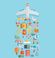 world travel concept background plane flat icons vector image