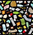 rubbish seamless pattern garbage texture trash vector image