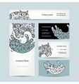 Art cats with floral ornament Business cards vector image vector image
