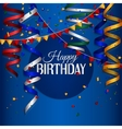 Birthday card with curling stream confetti and vector image