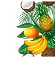 Seamless border with tropical fruits and leaves vector image