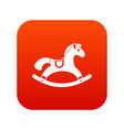 rocking horse icon digital red vector image