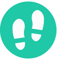 shoe prints in circle icon vector image