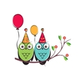 cute owls couple with balloons on the tree vector image