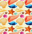 Seamless background with seashells and starfish vector image